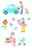 Family life. Illustrations family life. Free-hand drawing royalty free illustration