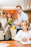 Family life - children doing school work Royalty Free Stock Photo