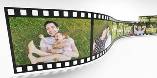 Family life concept. Photos of happy family on film strip. 3D rendered illustration. stock illustration