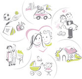 Family life of a couple, funny vector illustration Stock Images