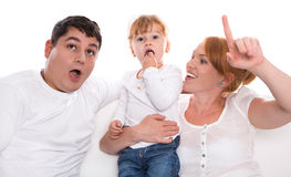 Family life: fun parents and child on white background Royalty Free Stock Image