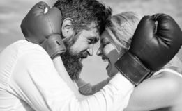 Family life happiness and relation problems. Reconciliation and compromise. Fight for your happiness. Man beard and girl. Cuddle happy after fight. Couple in stock images