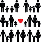 Family life icon set in black Royalty Free Stock Photos