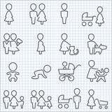 Family life icons set. Vector thin line icons set for web design and user interface in applications made in flat graphic style. Nice detail and easily Royalty Free Stock Photo