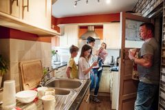 Family Life in the Kitchen stock photos