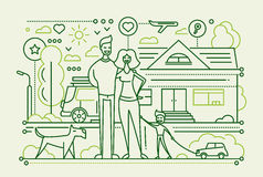 Family Life - line design composition Royalty Free Stock Image
