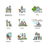 Family life, marriage and love, childhood and old age line vector icons Stock Images