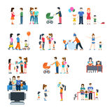 Family life style concept vector flat icon set. Stock Images