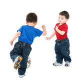 Family Lifestyle Brothers Playing Ball Stock Photo