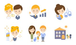 Family Lifestyle Icons Set, Wedding, Business, Birth Of A Baby Flat Vector Illustration Royalty Free Stock Photography