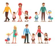 Family lifestyle. Parents take their children to the school in the morning. Happy kids go to school. No.1 royalty free illustration