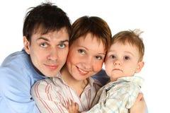 Family lifestyle portrait isolated. On white Royalty Free Stock Photos