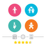 Family lifetime icons. Couple love and pregnancy. Royalty Free Stock Image