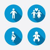 Family lifetime icons. Couple love and pregnancy Stock Image