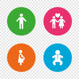 Family lifetime icons. Couple love and pregnancy. Stock Images