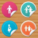 Family lifetime icons. Couple love and pregnancy. Stock Photography