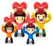 Family Lift up the a heart. 3D Family Character Royalty Free Stock Image
