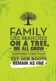 Family Like Branches On A Tree, We All Grow In Different Directions Yet Our Roots Remain As One. Motivation Quote. Family Like Branches On A Tree, We All Grow In vector illustration