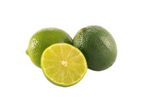 Family of limes. Three isolated limes on the white background Stock Photography