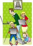 Family on line. Family members using internet Stock Illustration