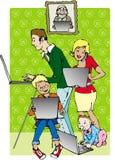 Family on line. Family members using internet stock illustration