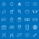 Family line color icons on blue background Stock Photos