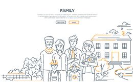 Free Family - Line Design Style Banner With Place For Text Stock Photos - 123981703