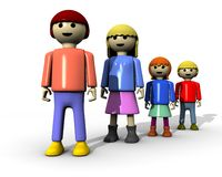Family line from down. 3d render of family toghether represented by toys Stock Images