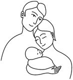 Family line drawing Stock Photo