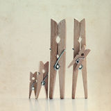 The family of linen clothespins Stock Image