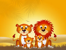 Family of lions. In Africn landscape stock illustration