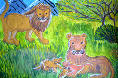 Family of lions on child's picture Royalty Free Stock Photo