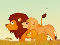 Family of lions. Illustration of family of lions stock illustration