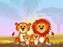 Family of lions. Illustration of lions family in the forest stock illustration