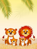 Family of lions in the savannah Stock Photos