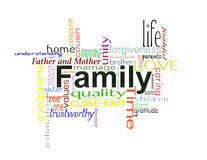 Family. A list of words discribing a good family Royalty Free Stock Photography