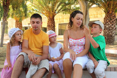 Family listen to the story the boy Royalty Free Stock Images