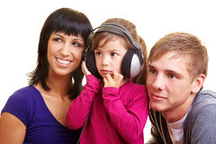 Family listening to music Stock Images