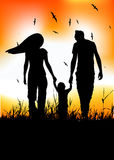 Family with little baby walk on summer field. Vector illustration Stock Image