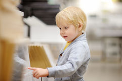 Family with little boy choosing the right furniture for their apartment in a modern home furniture store Stock Photo
