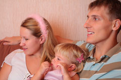 Family with little girl in room Royalty Free Stock Image