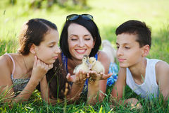 Family with little yellow duckling in summer Park Stock Image