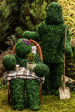 Family of live bushes. Outdoor fairy tale style photo. Stock Images