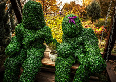 Family of live bushes. Outdoor fairy tale style photo. Stock Photos