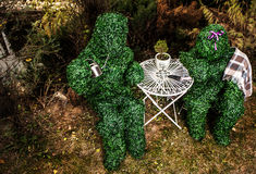 Family of live bushes. Outdoor fairy tale style photo. Royalty Free Stock Photo