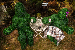 Family of live bushes. Outdoor fairy tale style photo. Royalty Free Stock Images