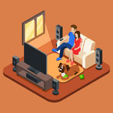 Family in the living room watching TV. 3d isometric people concept. Television and sofa, sitting together watching tv, watching television, family with dog vector illustration