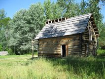 The family log house. In a heritage site is the Tong home, rebuild the same Stock Photography