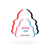 Family logo, person dad mom daughter and son Stock Images