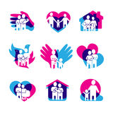 Family Logo Set. With home love and peace symbols flat  vector illustration Royalty Free Stock Photos